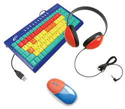 headphones, keyboard, and computer mouse