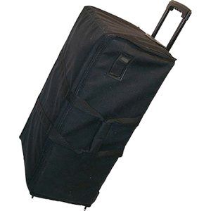 audio equipment carrying case on wheels