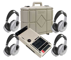 tape recorder and headphones wit carry case