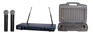 wireless microphones and carrying case