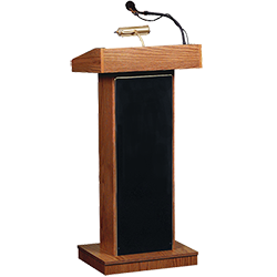 podium with goose neck mic and reading lamp