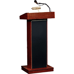 lectern with goose neck microphone and reading lamp