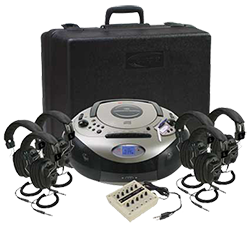 CD player with headphones and carry case