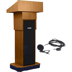lectern with lapel microphone
