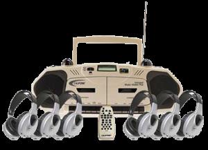 boombox and headphones
