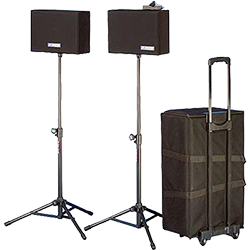 speakers and carrying case with wheels