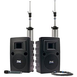 Anchor Audio PA system with speakers, stands, and handheld microphone