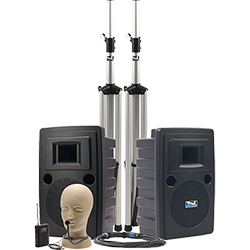 Anchor Audio PA system with speakers, stands, and hands-free microphone