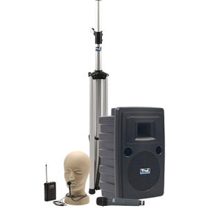 Anchor Audio PA system with speaker, stand, and handheld and hands-free microphones