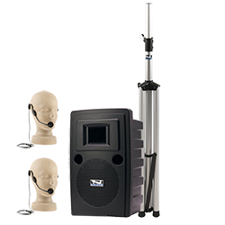 Anchor Audio PA system with speaker, stand, and hands-free microphones