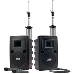 Anchor Audio PA system with speakers, stands, and handheld microphones