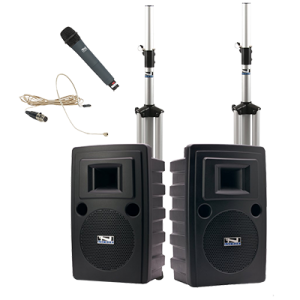 Anchor Audio PA system with speakers, stands, and handheld and hands-free microphones