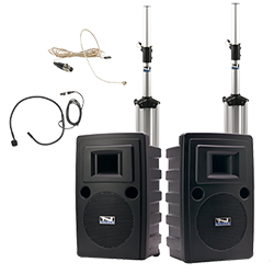 Anchor Audio PA system with speakers, stands, and hands-free microphones