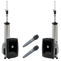 PA system with speakers, stands, and handheld microphones
