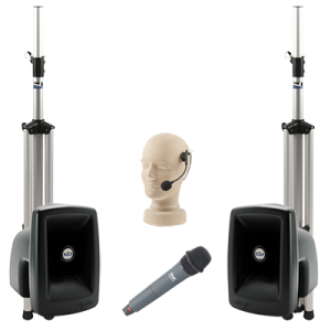PA system with speakers, stands, and handheld and headset microphones