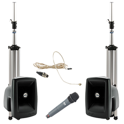PA system with speakers, stands, and handheld and lapel microphones