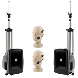 PA system with speakers, stands, and handset microphones