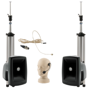 PA system with speakers, stands, and hands-free microphones