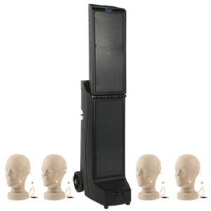PA system with hands-free microphones