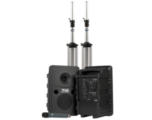 Anchor Audio PA system with two speakers, stands, and handheld mic