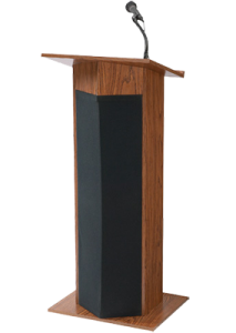 podium with headset microphone