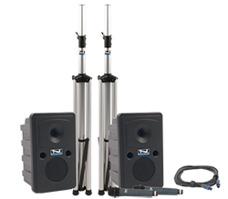 Anchor Audio PA system with two speakers and stands and handheld mic