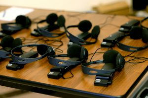 headphones used for simultaneous translation equipment