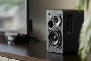 speaker on TV stand