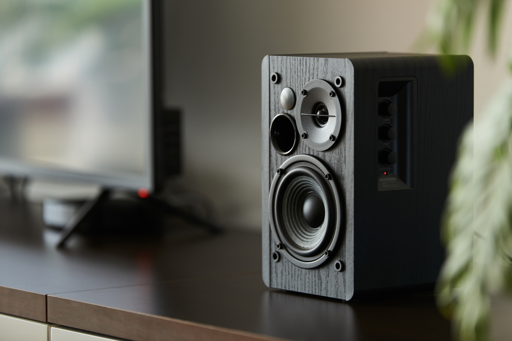 speaker on TV stand